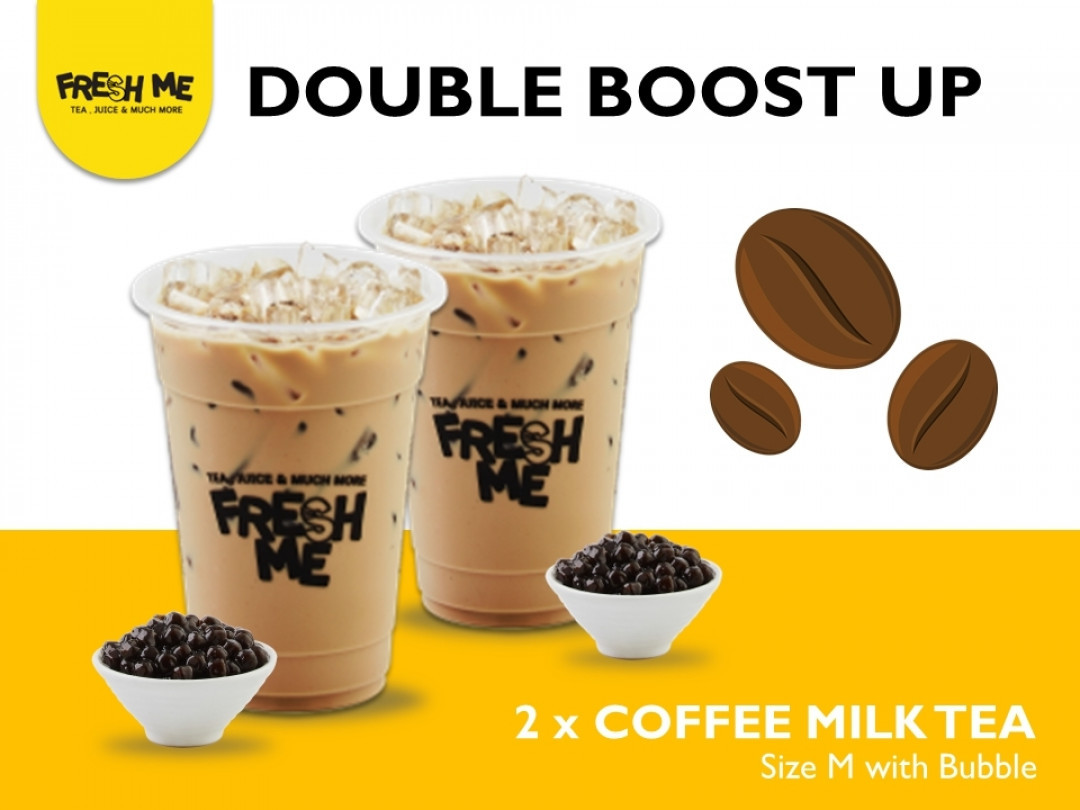 Double Boost up (Coffee Milk Tea + Bubble Size M x 2 Cups)